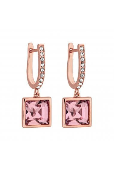Jon Richard made with Swarovski® crystals Rose Gold Plated Pink Square Drop Earrings