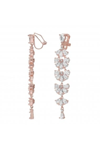 Jon Richard Rose Gold Plated Cubic Zirconia Statement Clip On Drop Earring