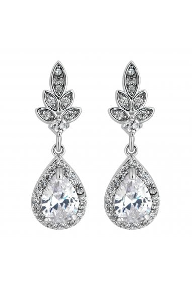 CZ LEAF AND PEARDROP EARRING