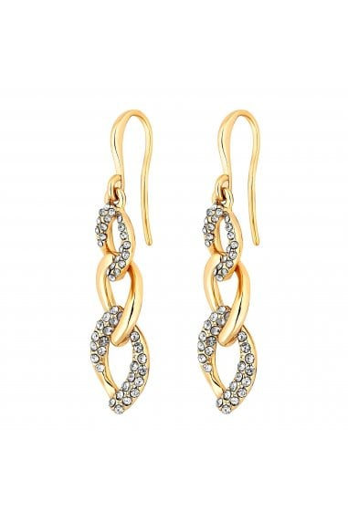 Jon Richard Gold Plated Crystal Pave And Polish Chain Link Drop Earrings
