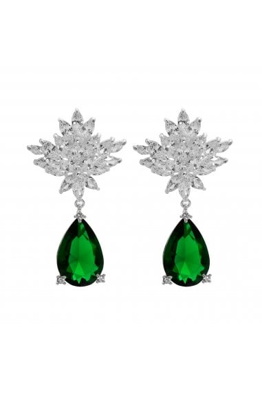 Jon Richard Rhodium Plated Green Cubic Zirconia Peardrop Earring