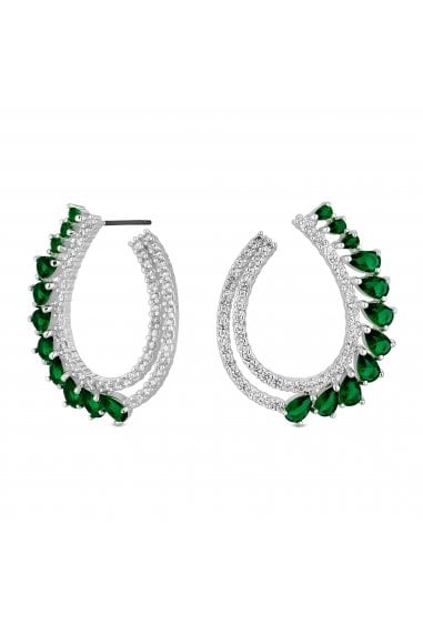 Jon Richard Rhodium Plated Green Front Facing Hoop Earrings