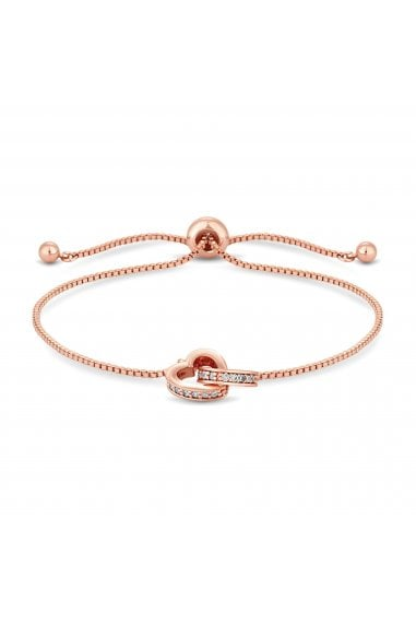 Jon Richard Rose Gold Plated Clear Crystal Heart Bracelet