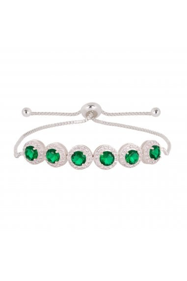 Jon Richard Rhodium Plated Emerald Green Pave Toggle Bracelet