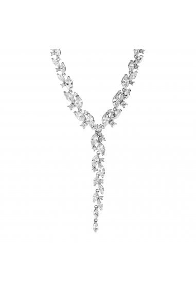 Jon Richard Rhodium Plated Cubic Zirconia Navette Necklace