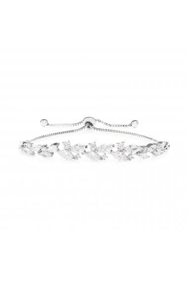 Jon Richard Rhodium Plated Cubic Zirconia Navette Toggle Bracelet