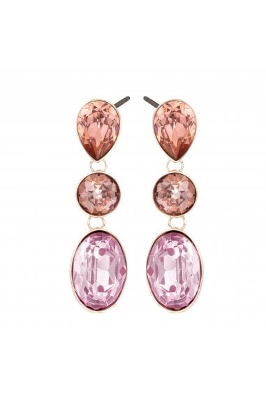 LIPSY ROSE GOLD PLATED PINK MULTI STONE DROP EARRINGS