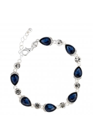 Jon Richard Silver Plated Blue Crystal Pear Bracelet
