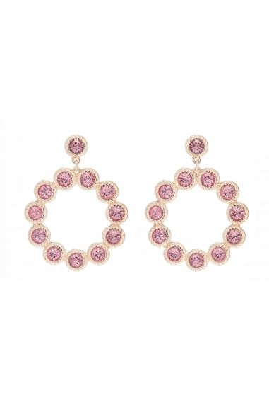 LIPSY ROSE GOLD PLATED PINK FORWARD FACING HOOP EARRING