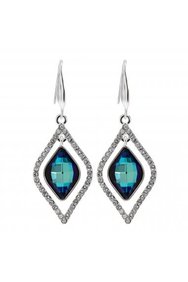 Jon Richard made with Swarovski® crystals Silver Plated Blue Frame Earrings Embellished With Swarovski Crystals