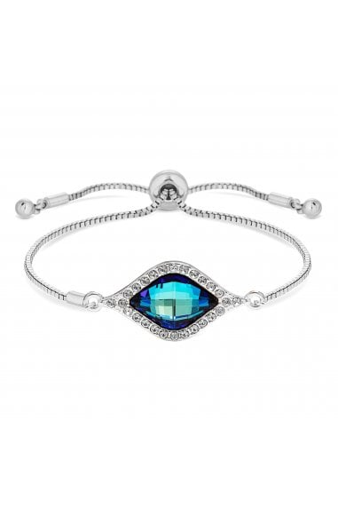 Jon Richard made with Swarovski® crystals Silver Plated Blue Frame Toggle Bracelet Embellished With Swarovski Crystals