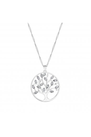 Jon Richard made with Swarovski® crystals Silver Plated Tree Of Life Pendant Necklace Made With Swarovski Crystal