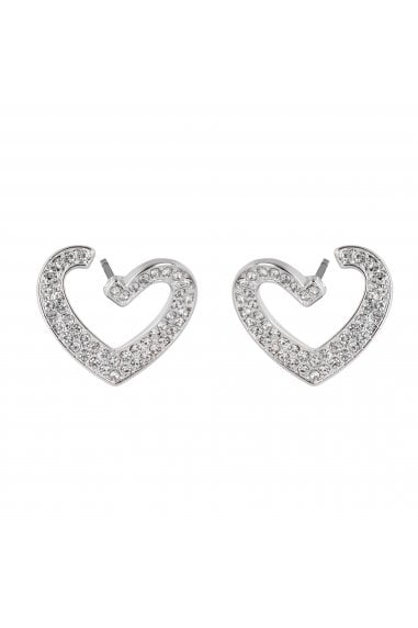 LIPSY SILVER PLATED CRYSTAL HEART FRONT TO BACK DROP EARRINGS