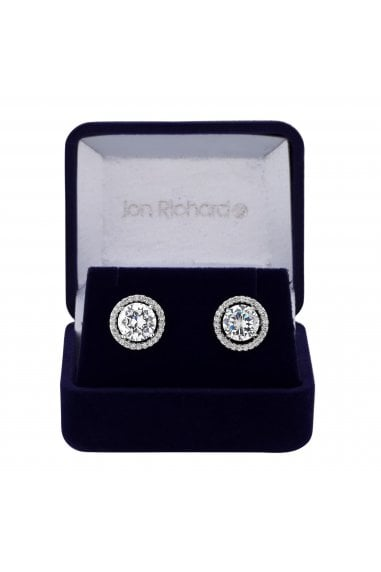 Jon Richard Rhodium Plated Cubic Zirconia Halo Stud Earring In A Gift Box