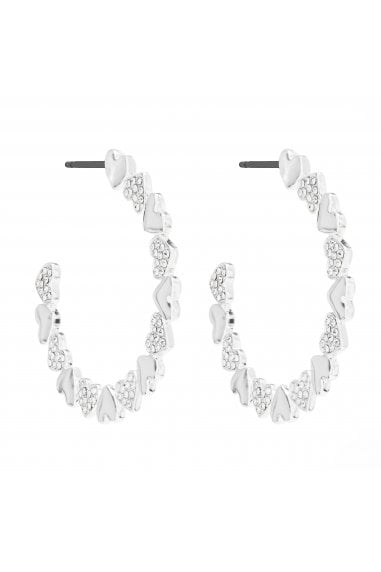 LIPSY SILVER PLATED POLISHED AND PAVE HEART HOOP EARRING