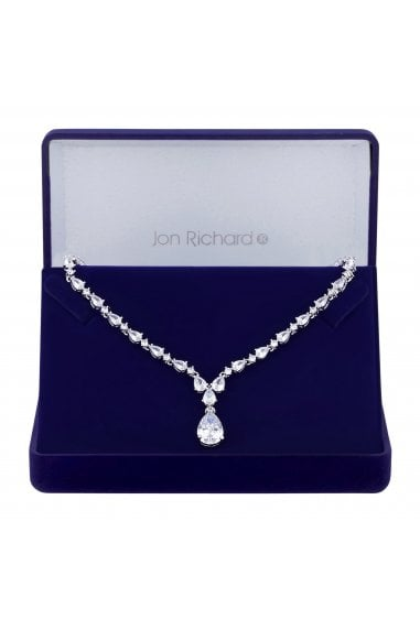 Jon Richard Rhodium Plated Clear Cubic Zirconia Graduated Pear Y Drop Short Pendant Necklace