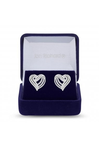 Jon Richard Rhodium Plated Clear Cubic Zirconia Heart Stud Earring