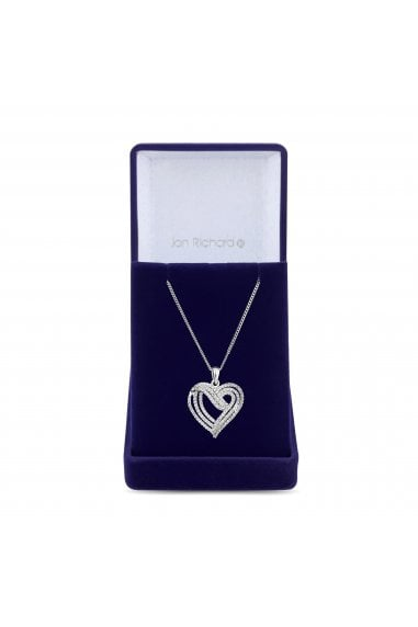 Jon Richard Rhodium Plated Clear Cubic Zirconia Heart Short Pendant Necklace