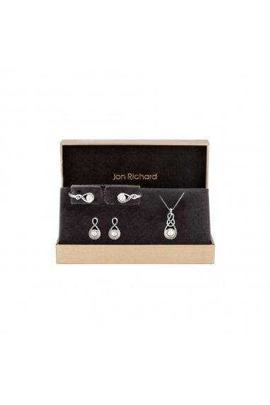 Jon Richard Silver Plated Clear Crystal Infinity Set- Gift Boxed