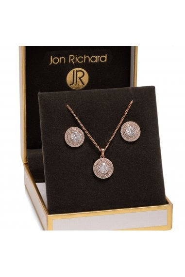 Jon Richard Rose Gold Plated Double Halo Set - Gift Boxed