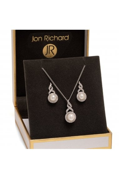 Jon Richard Rhodium Plated Pearl Twist Halo Set - Gift Boxed