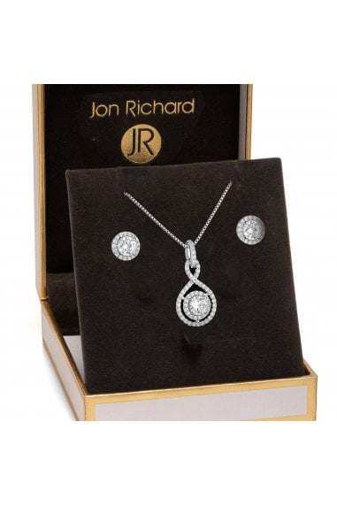 Jon Richard Rhodium Plated Clear Crystal Infinity Matching Set