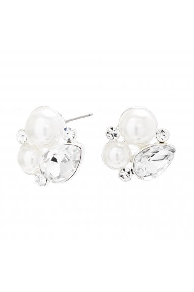 MOOD - By Jon Richard SILVER PLATED CRYSTAL AND PEARL CLUSTER STUD EARRINGS