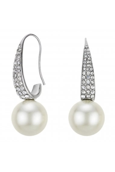 MOOD - By Jon Richard SILVER PLATED PAVE FISH HOOK PEARL DROPEARRING