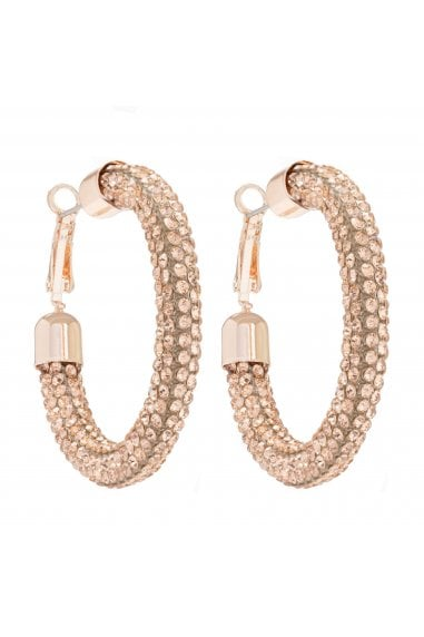 MOOD - By Jon Richard ROSE GOLD PLATED PEACH PAVE TUBE HOOP EARRING