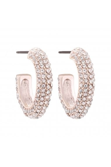 MOOD - By Jon Richard ROSE GOLD PLATED PINK CRYSTAL PAVE OVAL HOOP EARRINGS