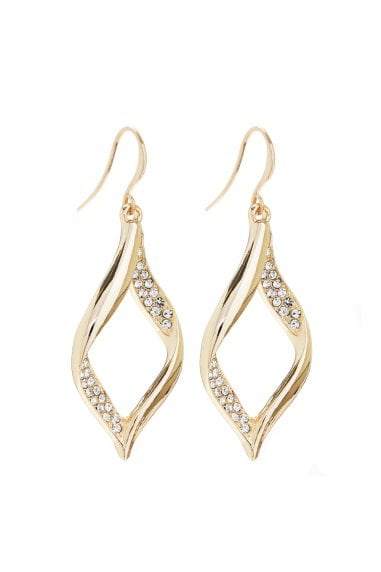 MOOD - By Jon RichardGOLD PLATED CRYSTAL PAVE TWIST DROP EARRING