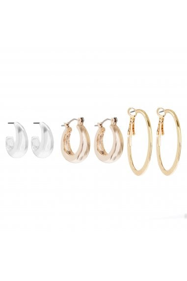 MOOD - By Jon Richard 3 TONE MIX HOOP PACK EARRING