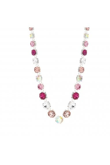 MOOD - By Jon RichardSILVER PLATED TONAL PINK ROUND STONE NECKLACE