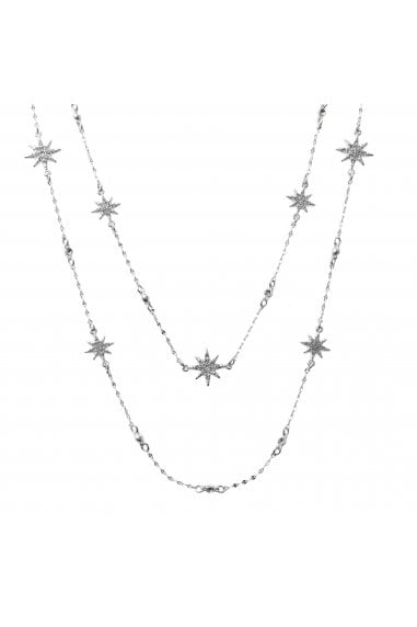 MOOD - By Jon RichardSILVER PLATED CELESTIAL STAR MULTI ROW NECKLACE