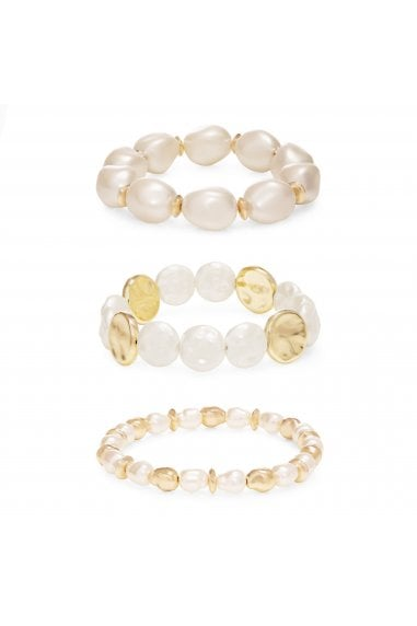 MOOD - By Jon RichardGOLD PLATED BAROQUE PEARL 3 PACK BRACELETS