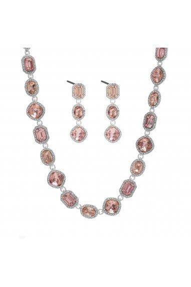 MOOD - By Jon Richard SILVER PLATE TONAL PINK HALO NECKLACE AND EARRING SET