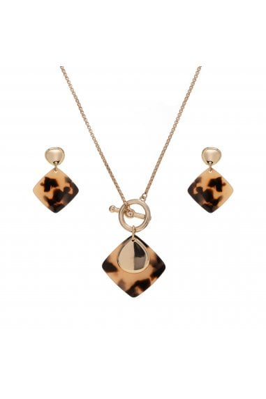 MOOD - By Jon Richard GOLD PALTED TORT RESIN SHORT PENDANT AND EARRING SET