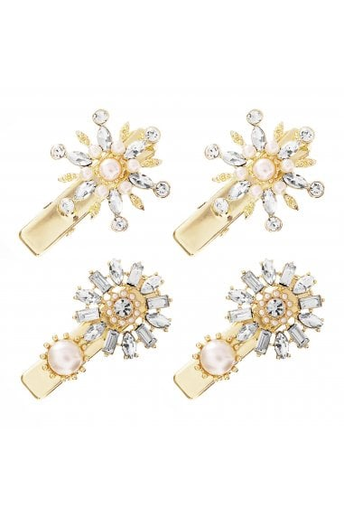 MOOD - By Jon RichardGOLD PLATED CRYSTAL PEARL FLORAL HAIR CLIPS