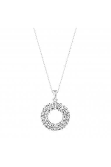 Simply Silver Sterling Silver 925 Cubiz Zarconia Double Round Pendant