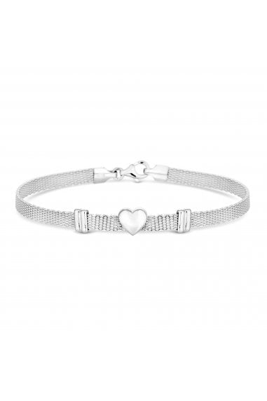 Simply Silver Sterling Silver 925 Polished Silver Heart Mesh Bracelet