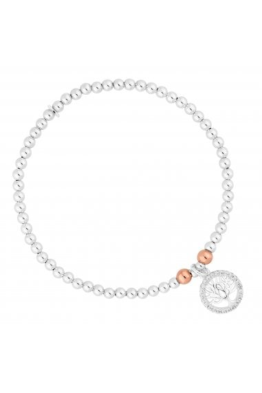 Simply Silver Sterling Silver 925 2-Tone Tree Of Life Stretch Bracelet
