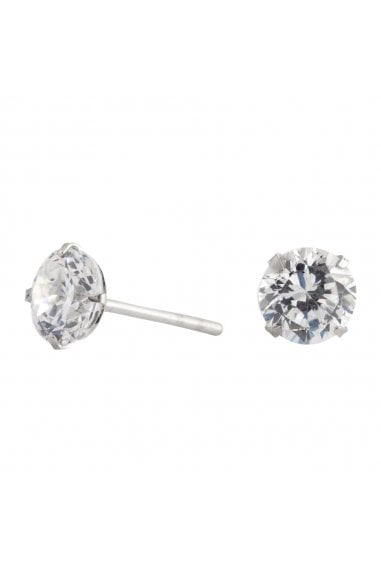 Simply Silver Sterling Silver 925 6mm Round Brilliant CZ Studs