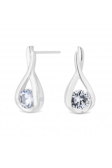 Simply Silver Sterling Silver 925 Solitaire Twist Drop Earring