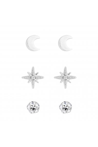 Simply Silver Sterling Silver 925 Moon and Star Three Pack
