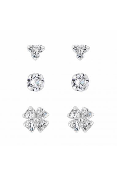 Simply Silver Sterling Silver 925 Cubic Zirconia Multi Flower 3 Pack