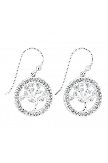 Simply Silver Sterling Silver 925 Swarovski Matching Tree Of Life Blue Drop Earrings
