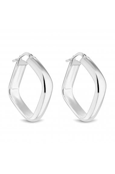 Sterling Silver Simply Silver 925 Large Polished Square Hoop