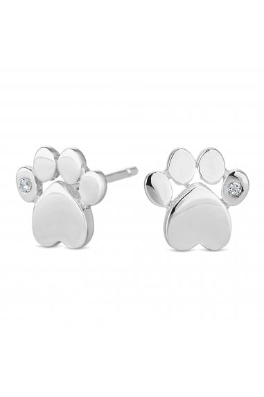 Simply Silver Sterling Silver 925 Paw print Stud