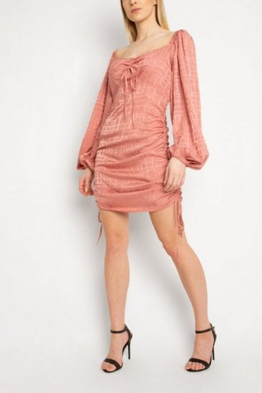 Gini London Pink Grid Check Ruched Dress