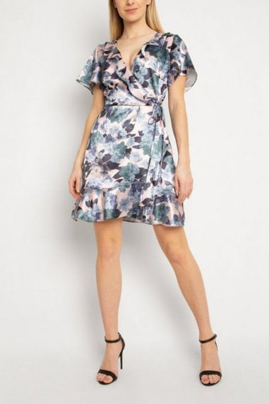 Gini London Pink Floral Frill Dress